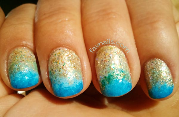 gold glitter blue gradient ocean nails