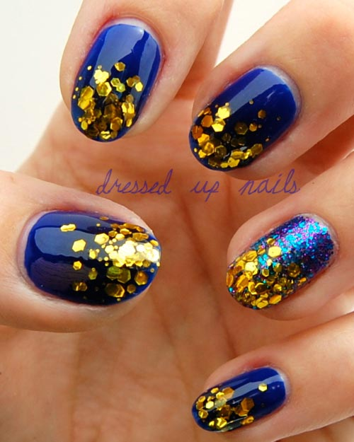 Blue Golden Nail Art : Gold glitter blue nails favnails