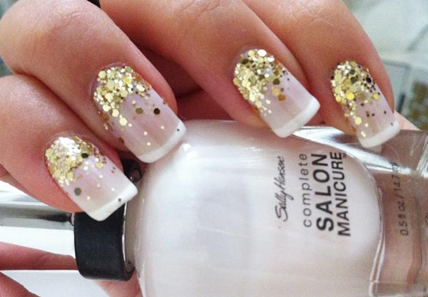 gold glitter classic french nails