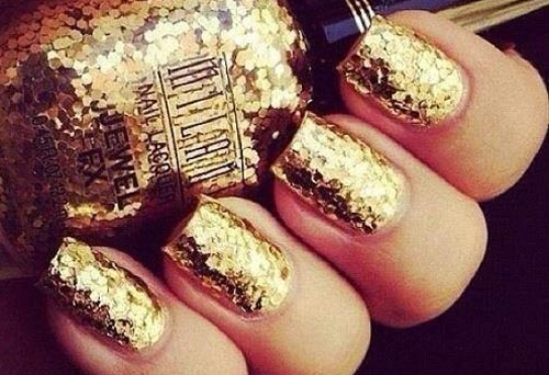 gold glitter new year s eve nails