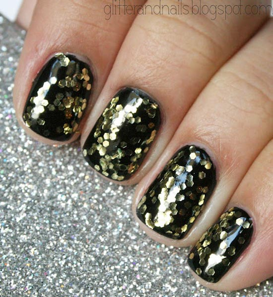 gold glitter party black nails