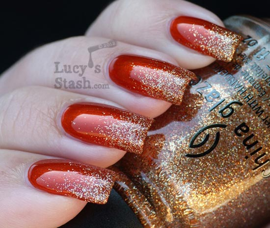 gold glitter red nails