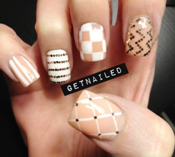 gold glitter white beige nails