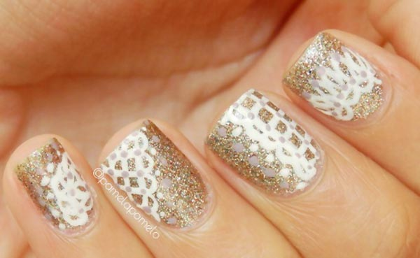 gold glitter white lace stamped nails