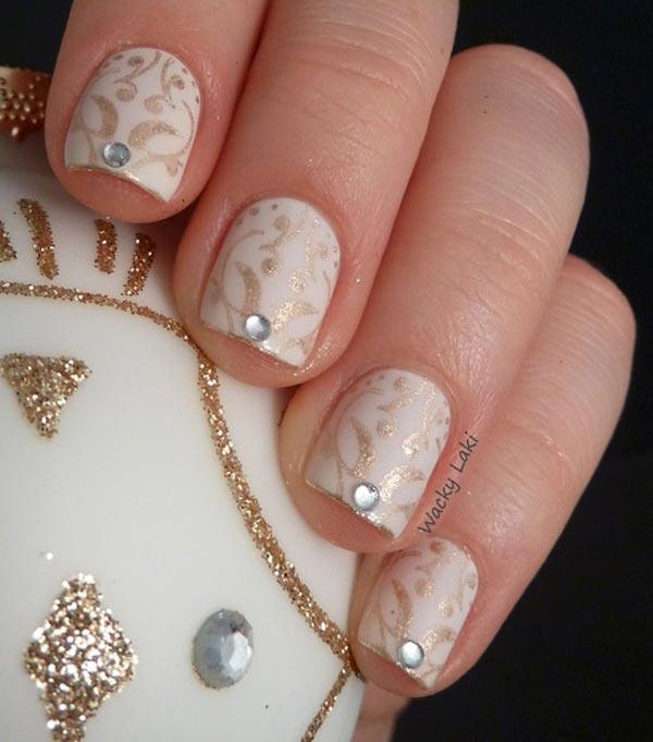 gold on white festive nails
