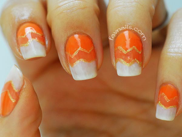 orange gradient chevron gold halloween nails