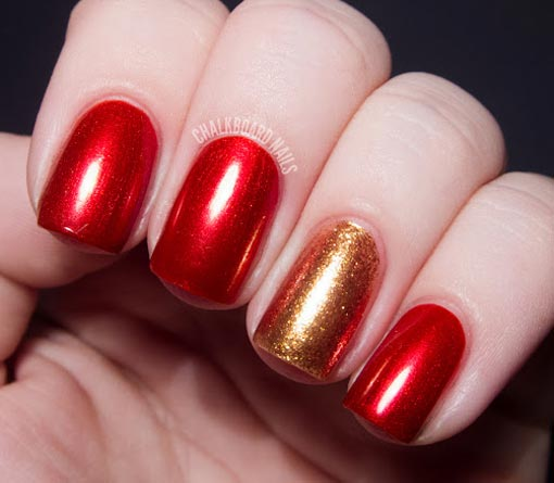 gold over red nails