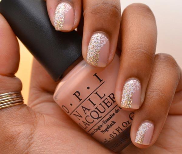 gold pattern glitter pink nails