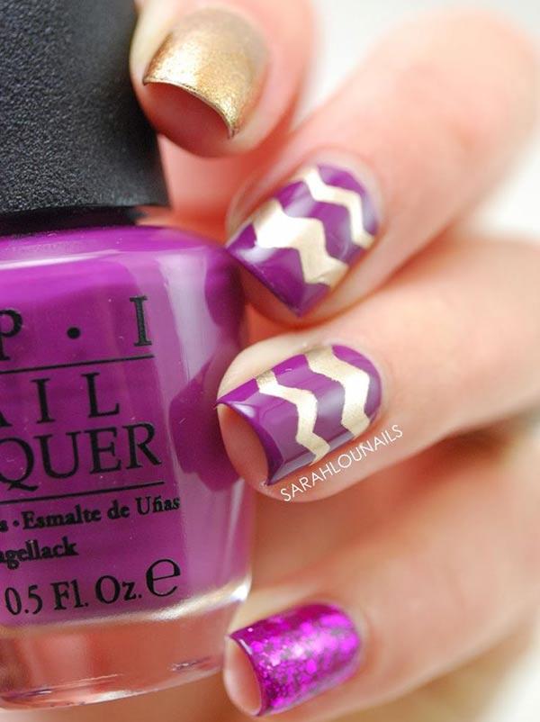 chevron accents gold purple nails