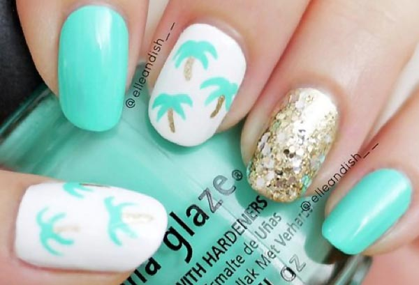 gold sequins palm trees teal summer nails