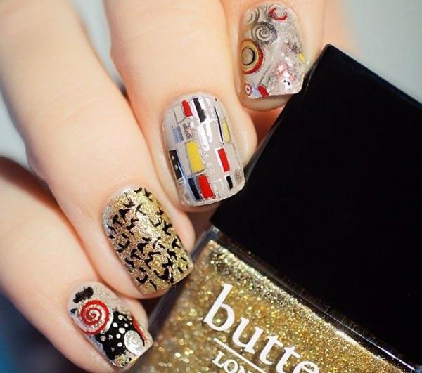 gold silver fall colors artdeco nails