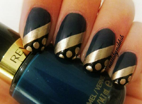 gold stripe dots dark blue nails