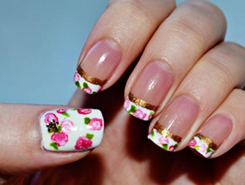 gold stripes roses french nails