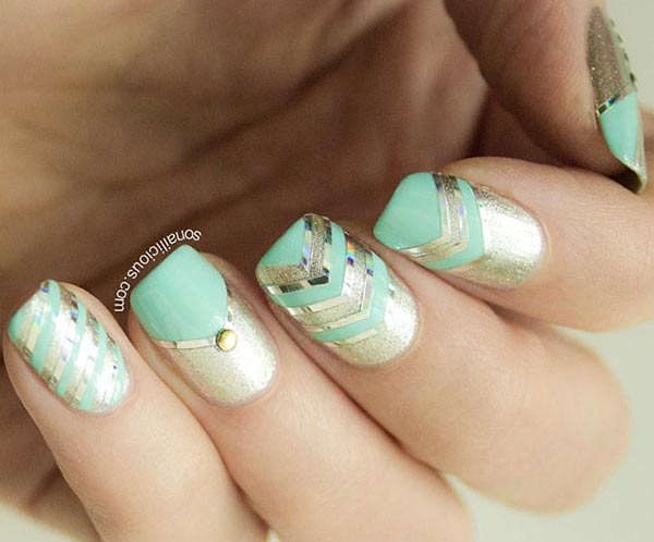 gold teal striped party nails