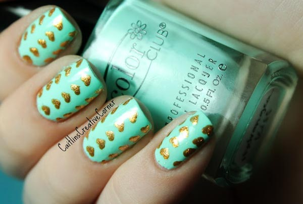 golden hearts teal valentines day nails