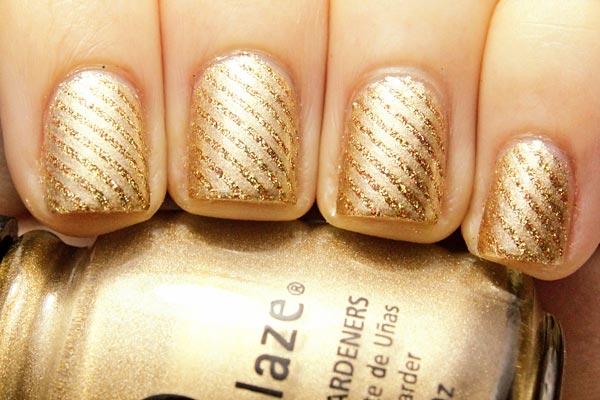 golden shimmer stripes nails