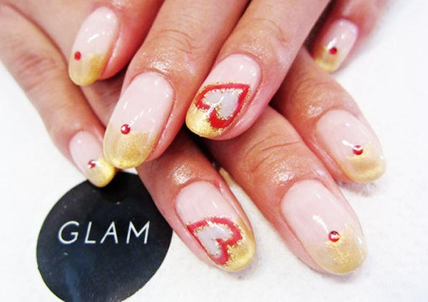 golden tips hearts french valentines day