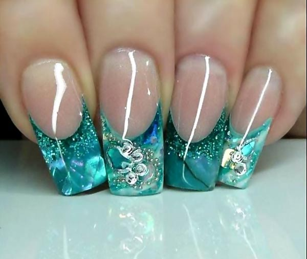 gorgeous aqua glitter tips french nails