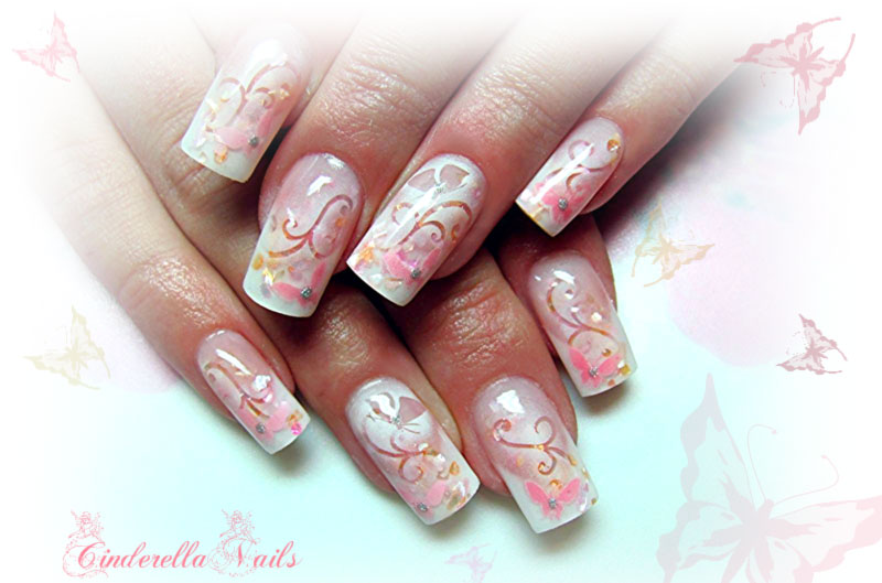 gorgeous butterfly flowers spring delicate nails