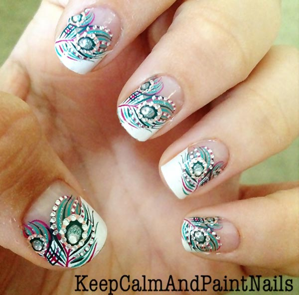 gorgeous freehand feathered french nails