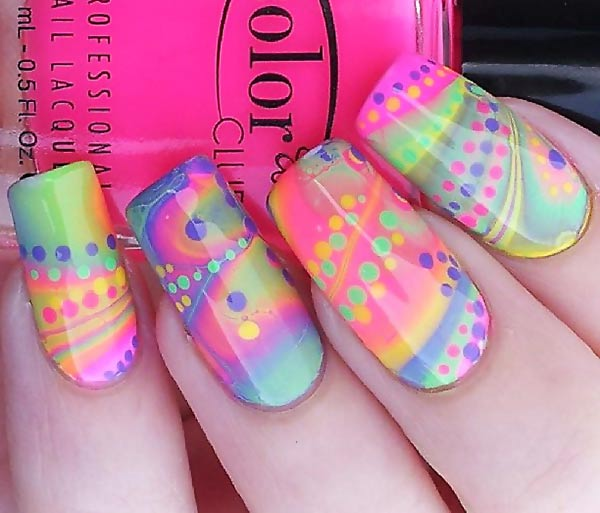 gorgeous neon marbled dotted nails