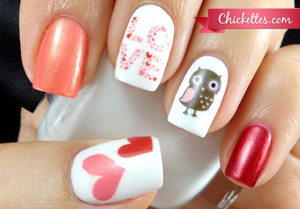 gorgeous valentines day love hearts nails