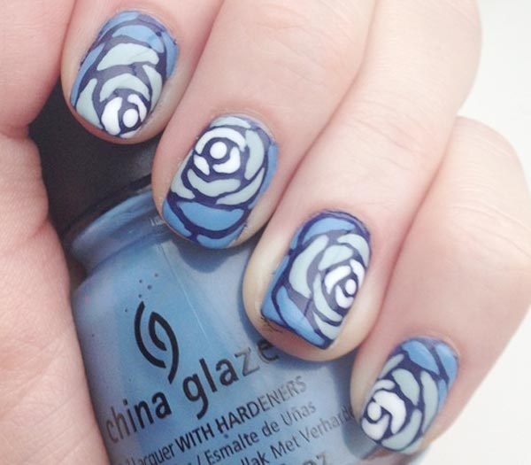 gradient blue roses freehand nails