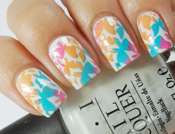 gradient butterflies on white spring nails