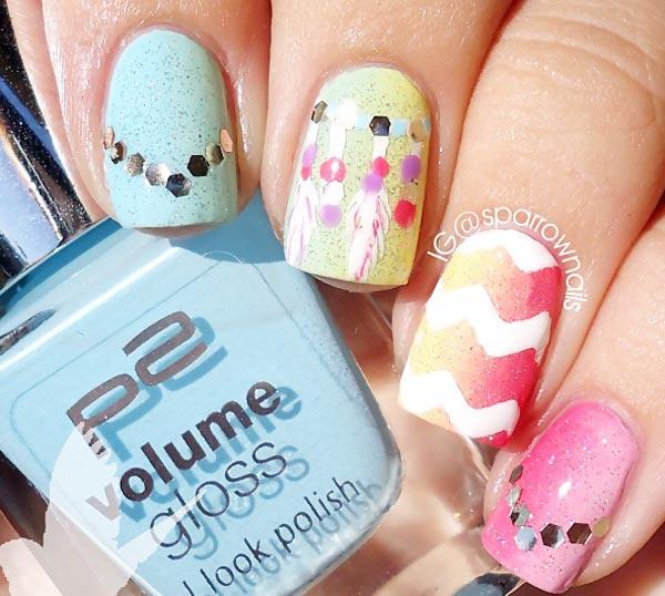 gradient chevron dreamcatcher sequins nails