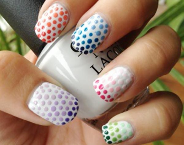 gradient dotted french white nails