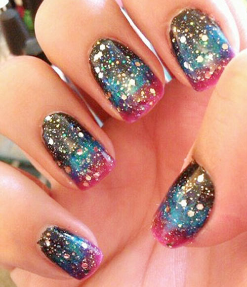 gradient glitter galaxy nails