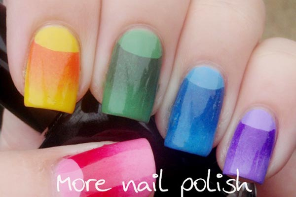 gradient halfmoon colorful easter nails