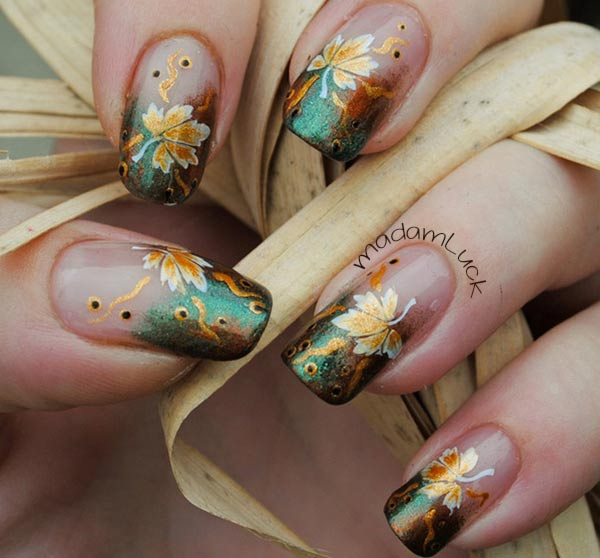gradient leaves french fall nails