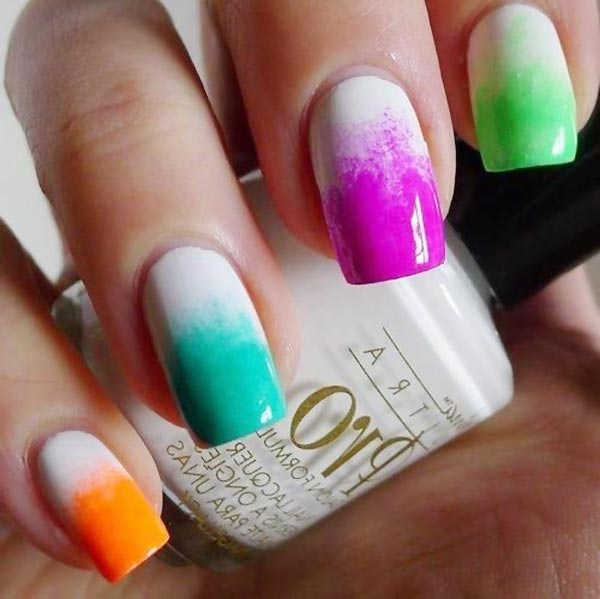 gradient rainbow spring white nails