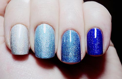 gradient shimmer blue nails