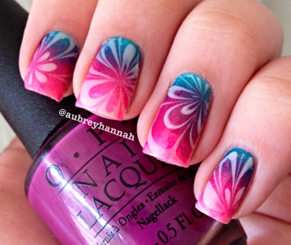 gradient water marble nails