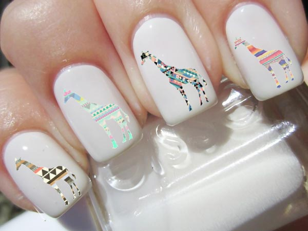 graphic decals on white nails