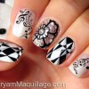 graphic musical black and white nails