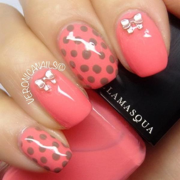 Pink Nails with Bow