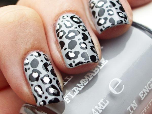 gray leopard nails