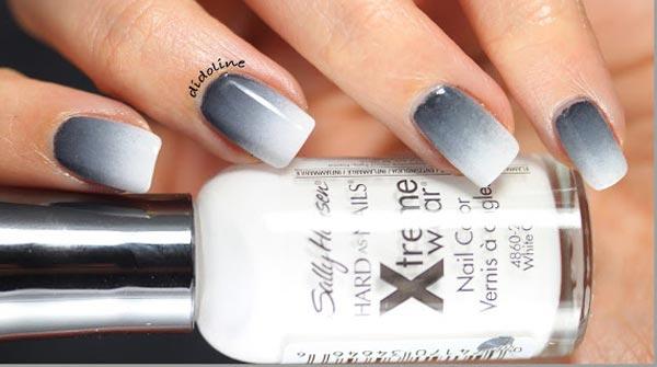 gray white gradient nails