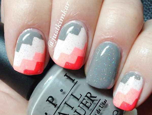 grey white peach coral gradient nails