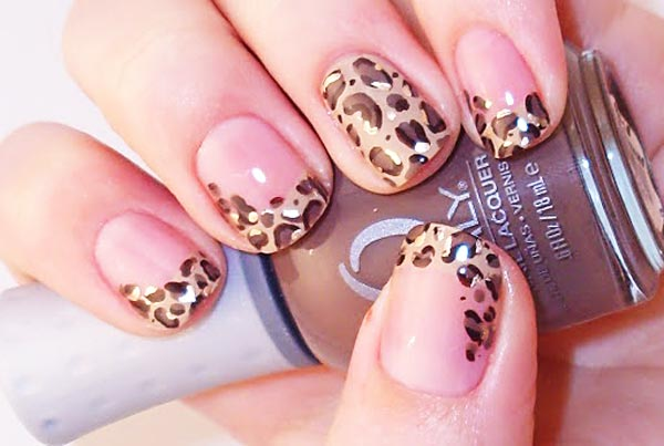 great animal print french nails