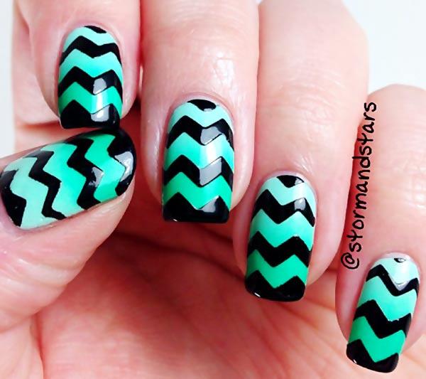 green black chevron nails