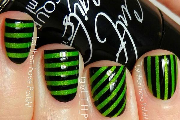 green black striped nails