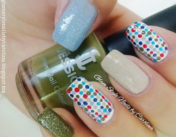 green blue red dotted nails