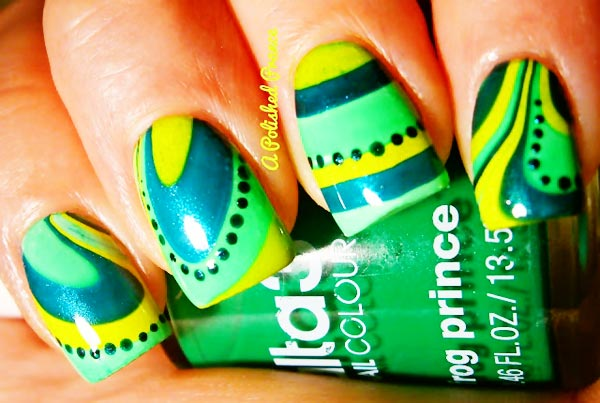 green blue yellow summer marbled nails