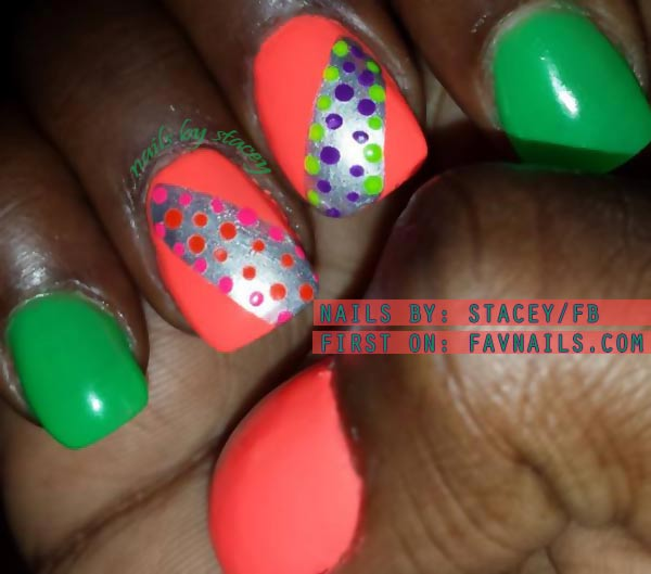 green coral neon silver dots accents nails