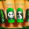 green crackle stamped halloween nails