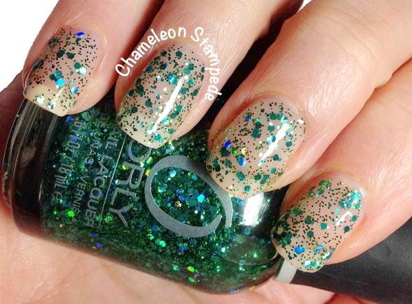 green glitter Christmas nails